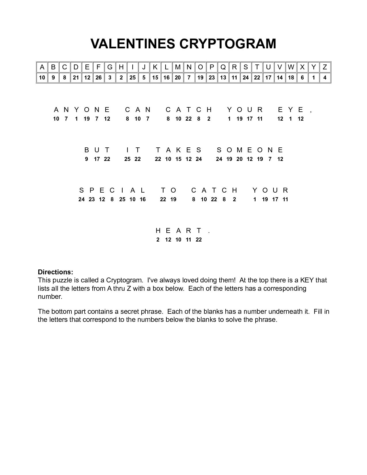 Valentine Cryptograms To Print