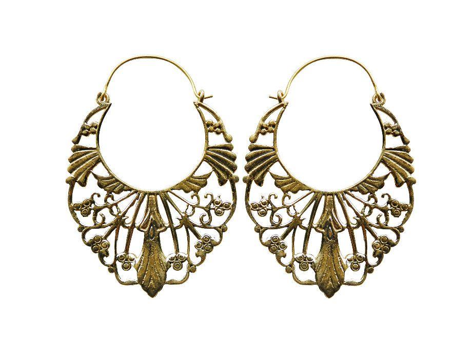 Bohemian style jewelry -  Large hoop earrings - Tribal jewelry - Statement - Ethnic motive by NELAJAPAN on Etsy