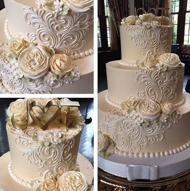 Signature Classic Ranunculous And Roses 3 Tier Wedding Cake With Buttercream Flowers