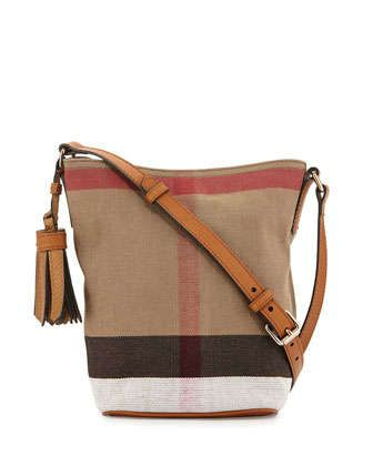 650 Canvas Check Crossbody Bag, Saddle Brown by Burberry at Neiman Marcus. 71303cbf2b