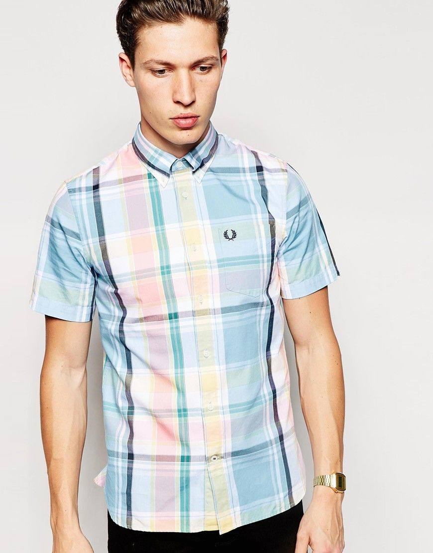 Fred Perry Shirt with Bold Check Slim Fit Short Sleeves at asos.com