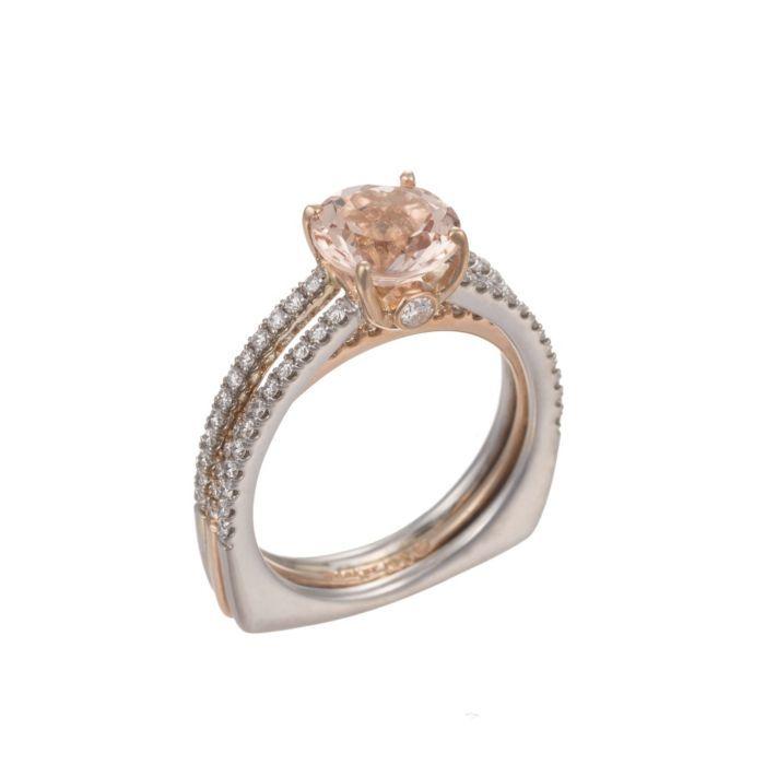 18K Rose & White Gold Ring with 1.85 CT Morganite & Diamonds