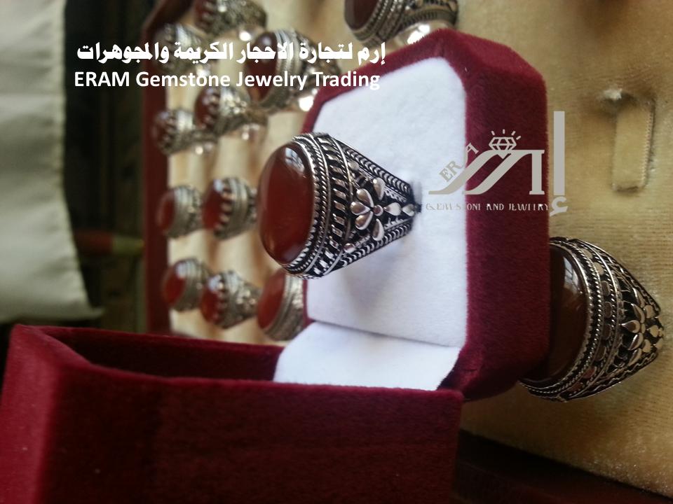 خواتم رجالي كلاسيك 9 عقيق يمني احمر كبدي دم الغزال قص كبشن عادي درجة اولى Onyx Agate Gemstone Jewelry Gemstones Jewelry