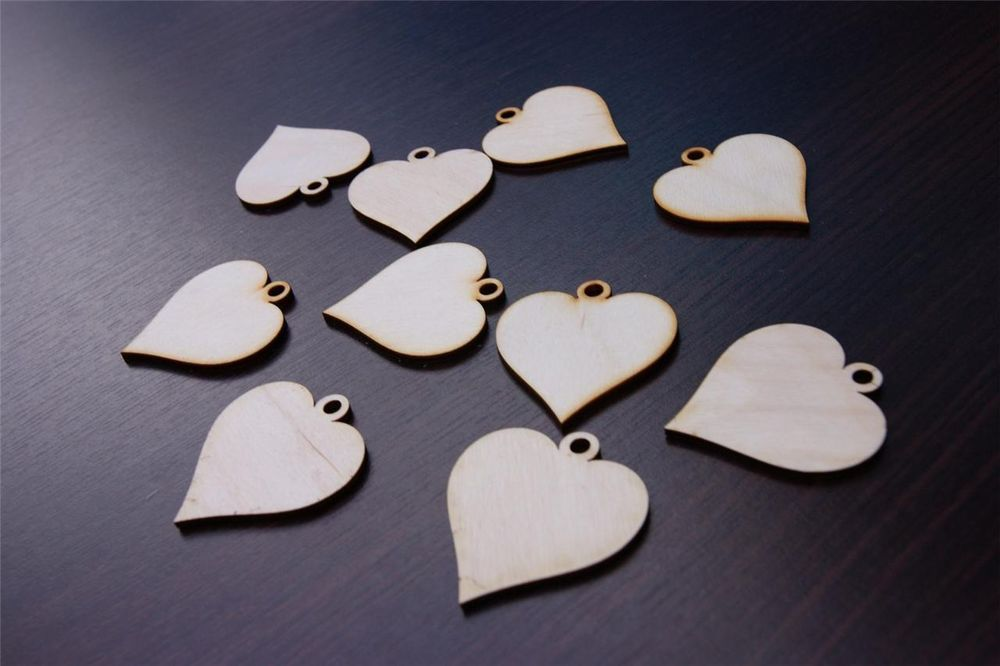 (10x) SM Plain Wood Wooden Hearts embelishments craft shapes blank heart shape