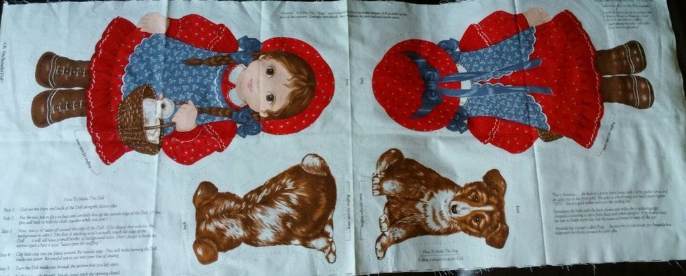 "VIP CRANSTON PRINT WORKS fabric ""Amanda and Rags"" dog adorable cut and sew panel #VIPbyCranston"