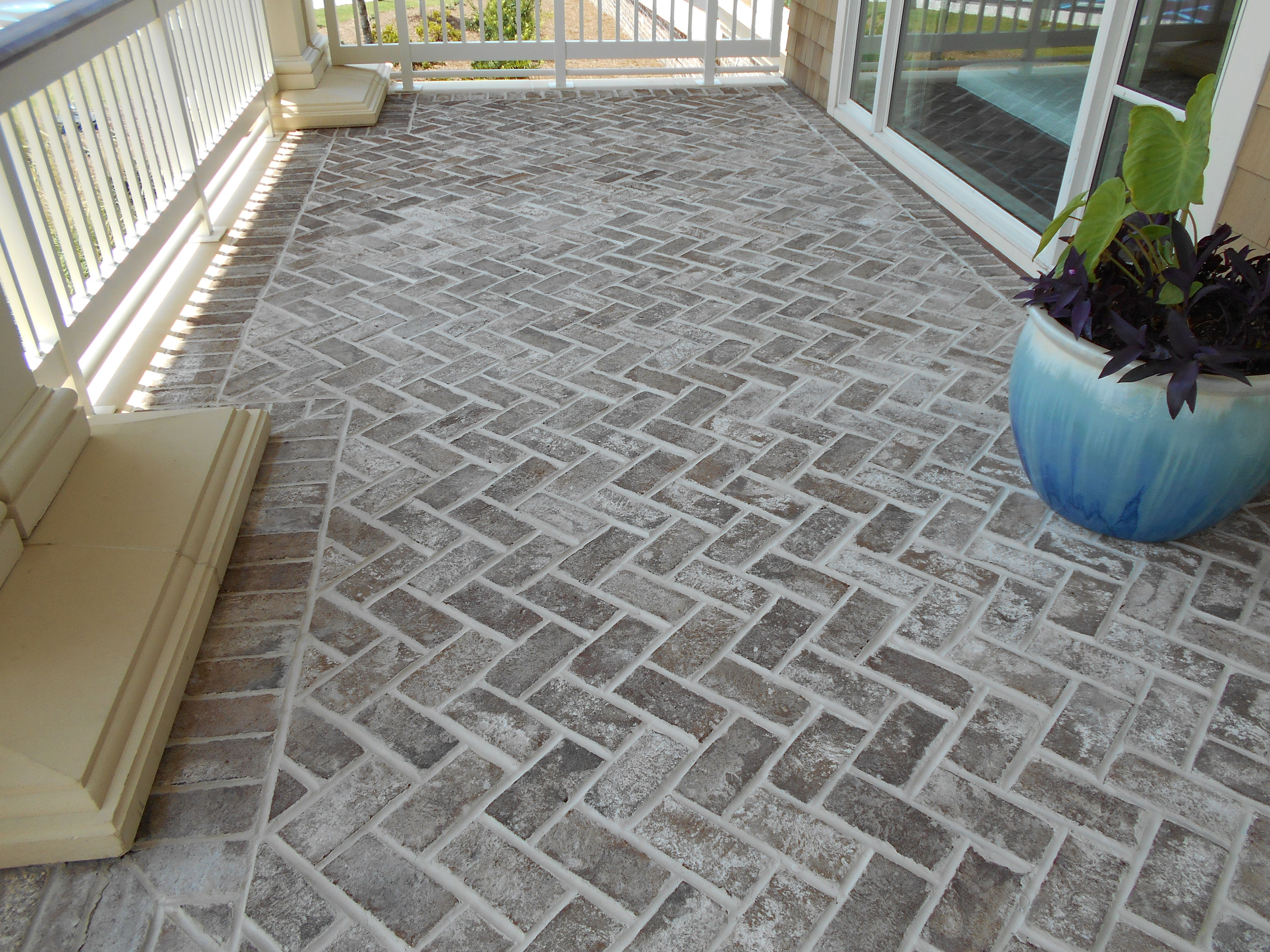 Contemporary with front steps gray brick driveway gray brick driveway - Our Normal Savannah Grey Oversize Genuine Handmade Brick Used As Pavers In A Herringbone Pattern At