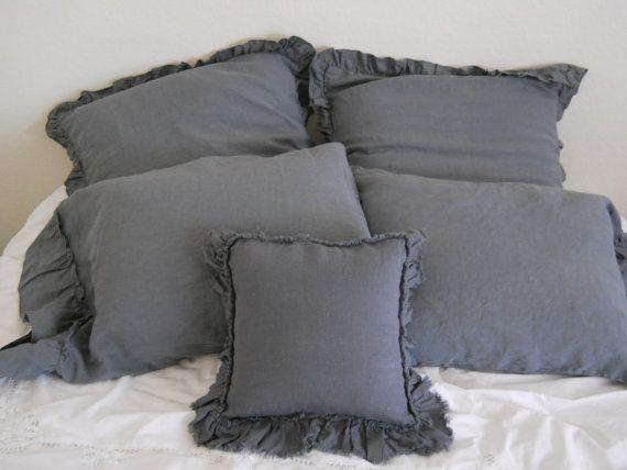 Best Lily 14X14 Cushion With Frayed Ruffle Dark Gray 400 x 300