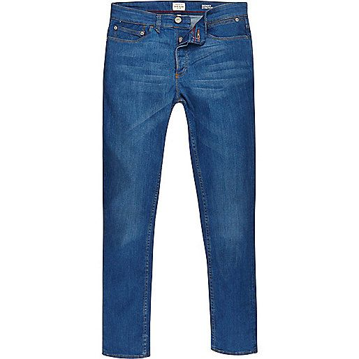 Bright blue wash denim with stretch Skinny fit Fade detailing Contrast  stitching Belt loops Five pockets Button fly fastening Our model wears a UK  32 ...