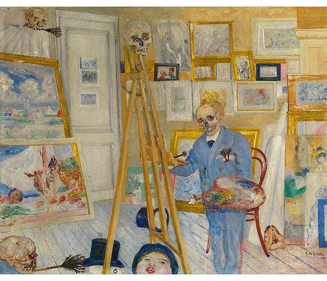 The Skeleton Painter About 1896 James Ensor Oil On Panel Royal
