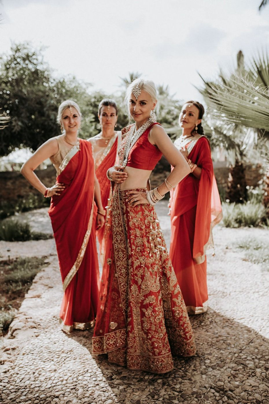 Two Cultures Beautifully Married Into One Wedding Day Indian Bridesmaid Dresses Indian Bridesmaids Indian Wedding Outfits [ 1395 x 930 Pixel ]