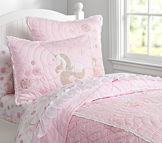 Unicorn Quilted Bedding Pottery Barn Kids Girls Room
