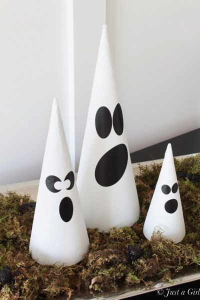 Make fun, glittered ghost cones with some mod podge and creative - halloween ghost decor
