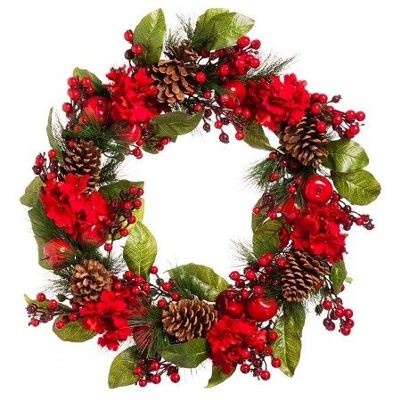 """26"""" Christmas Berry and Pinecone Artificial Wreath : Target"""