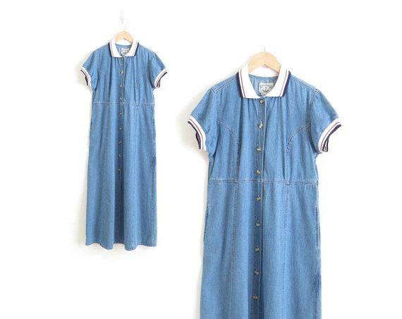 d762cf8763 Denim Maxi Dress Polo Shirt Dress Striped Polo Dress 90s Punk Jean Dress  Womens Denim Dress Chambray Dress Puff Sleeve Babydoll Dress Medium