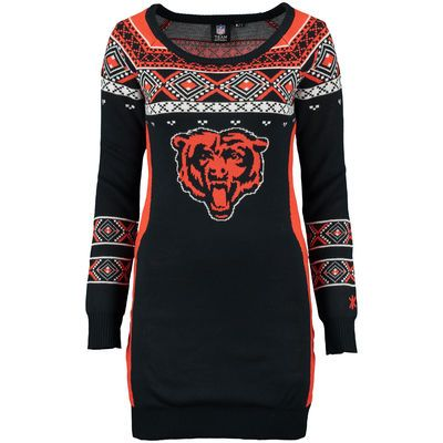 a369dd90 Women's Chicago Bears Klew Navy Big Logo Ugly Sweater Dress | All ...