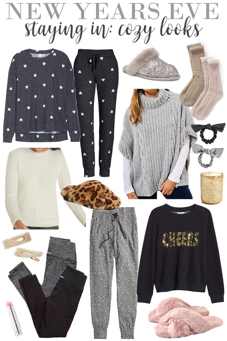 The Perfect NYE Outfit Inspiration | If you're staying in (like I most likely am! Who else?!) and just want to be comfy, these are the cutest things out there that you can still feel festive in without just sitting in your pajamas all night haha. I love this gray heart printed cozy set – it comes in a ton of colors/pattern combos and is such a good loungewear set. Also love these cute star printed joggers, they're perfect for NYE! #nye #newyearseve #nyeoutfit #forthelove