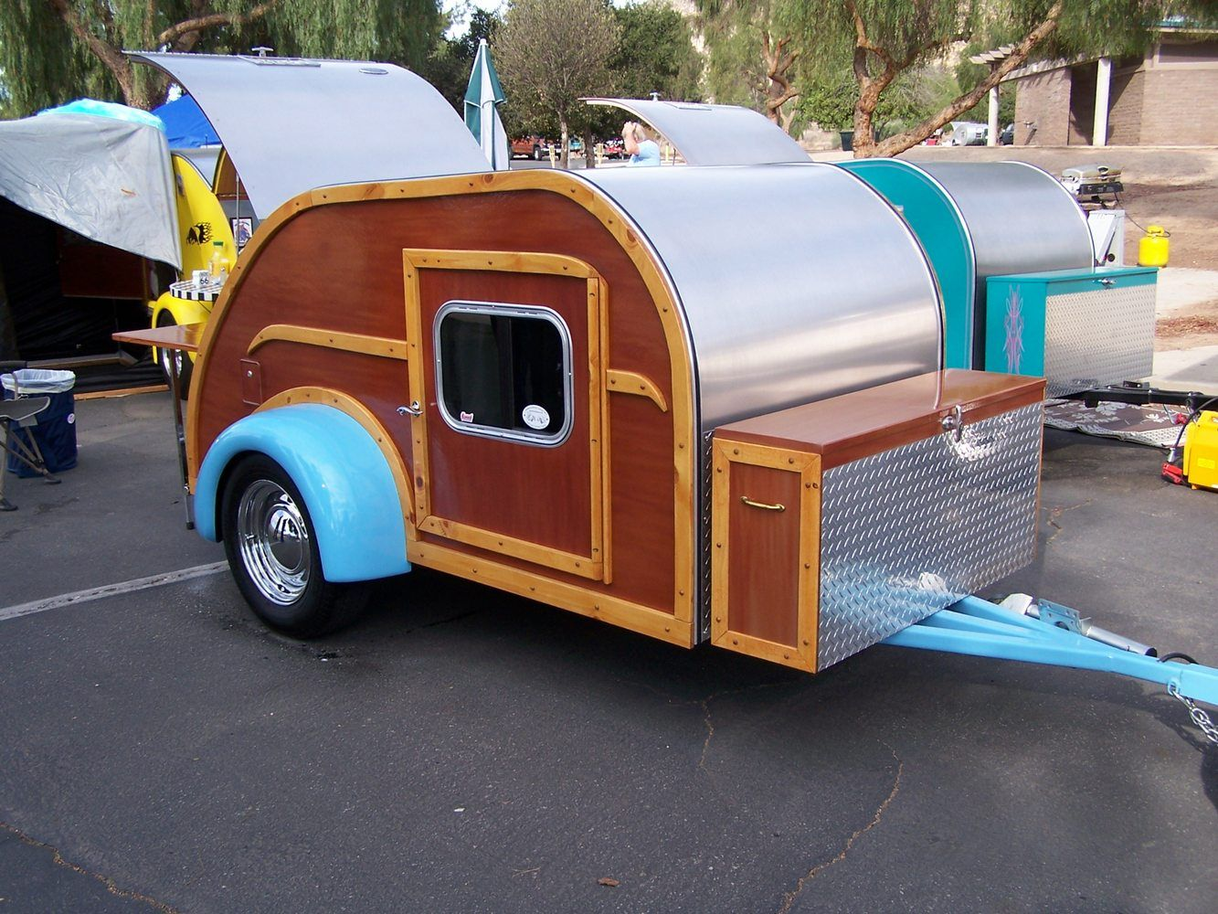 Aluminum Teardrop Trailers : Turquoise woody aluminum teardrop trailer