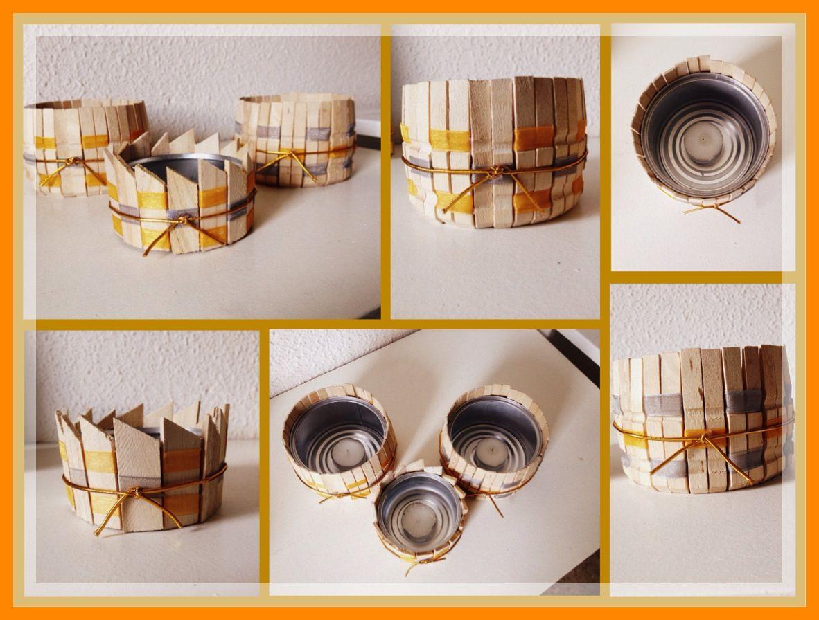 Porta velas con latas de atun pinzas de ropa o maderitas que tengas por casa este en tonos - Velas y portavelas ...