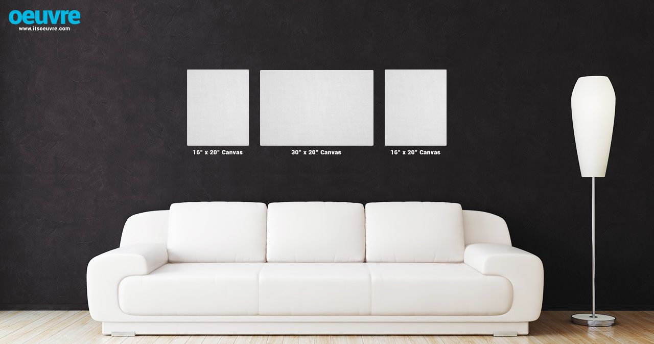 Canvas Photo Wall Layout Using Two 16 X 20 And One