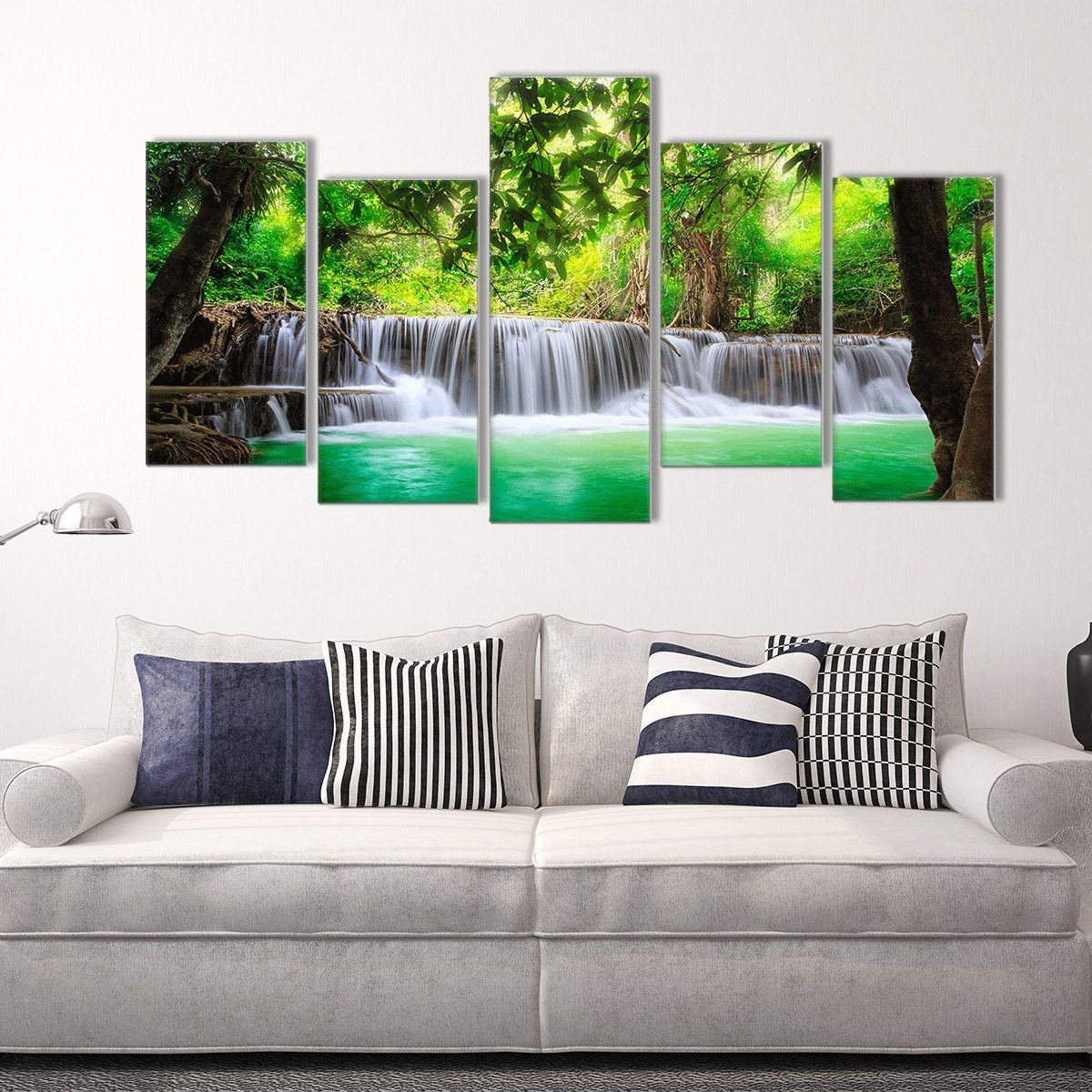 Go Chase Waterfalls 5 Piece Staggered Canvas Wall Art Wall Canvas Customized Canvas Art Canvas Wall Art