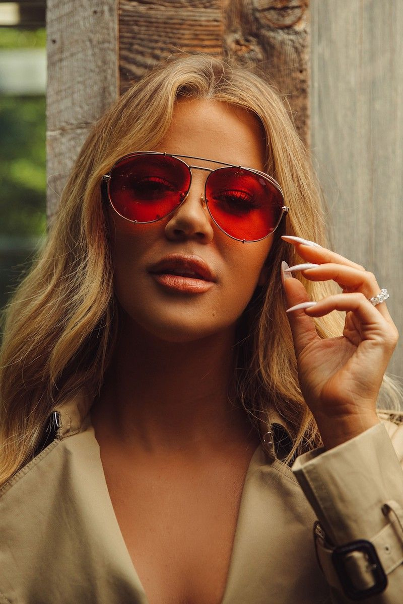 218a89e5f24fc DIFF x Khloé Koko 63mm Oversize Aviator Sunglasses in Gold Red ...