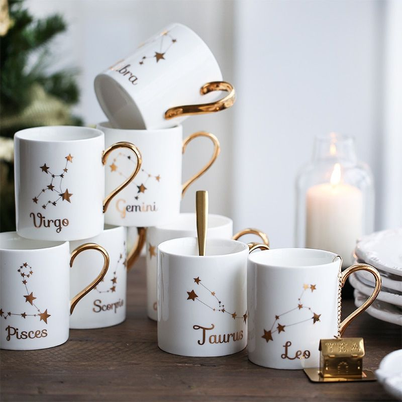 Penelope Collection Ceramic Mugs with Constellations Inspired Designs - Voguenest