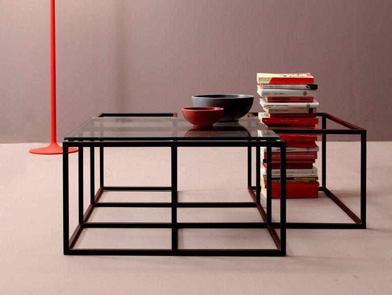 Tavolino in acciaio e vetro da salotto set tavolino da for Tavolini design