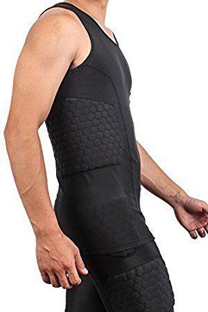 511d1c9c87e Amazon.com : DGXINJUN Men's Safe Guard Padded Compression Sports Protective  Shirt Training Vest Tank Top Rib Protector Suit for Football Basketball ...