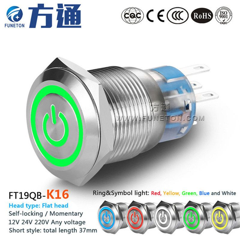 19mm Ft19qb K16 Metal Push Button Switch With Led Light 6v 12v 24v 36v 110v 220v Self Locking Momentary Push Button Power Switch Led Lights Light Led