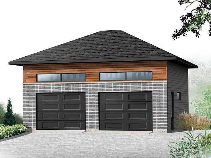 028G0057 Modern 2Car Garage Plan Garage door design