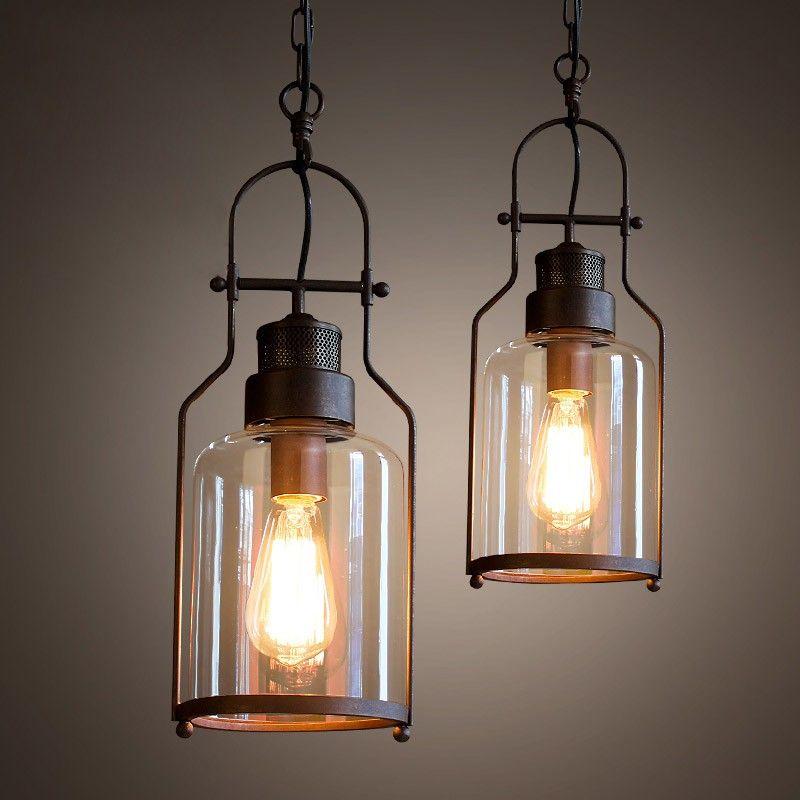 Tarrice Industrial 1 Light Rust Metal Glass Lantern Pendant