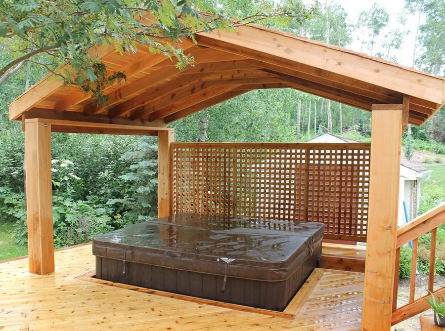 Pergola & Hot Tub 2 DeckScapes outdoor jacuzzi in