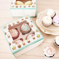 Free shipping green cupcake box 4 cupcake muffin boxes pudding bottle box…