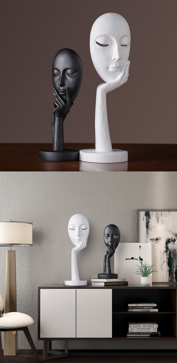Black And White Mask Decoration Display Home Decor Accessories