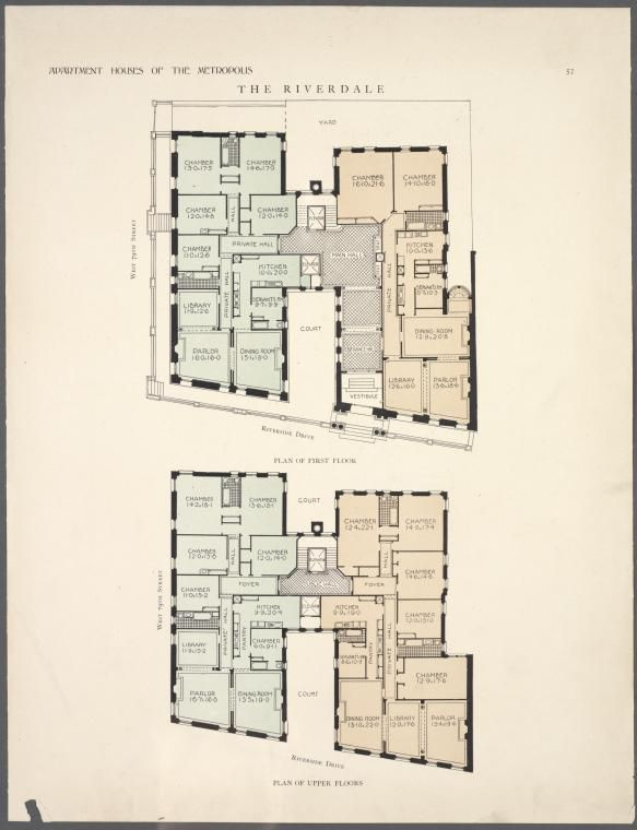 The Riverdale. Plan of first floor; Plan of upper floors ...