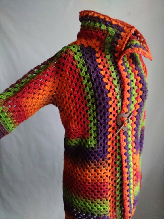 Rainbow Wool Cardigan Women Wool Jacket Coat Knit Cardigan #rainbowcardigan #wool #cardiganwomen #jacketwomen #coatwomen #knitcardiganwoman #cardigancoat #boho #grannysquare #rainbowclothing #rainbowjacket #openfrontcardigan #longcardigan