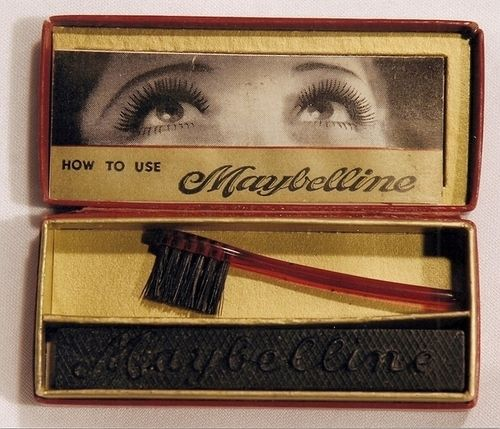Maybelline Mascara, 1917  (Looknat the brush!). My Nana had some of this :)        well i had some in a red plastic container just like this one...same brush,,,in the 60's-70's   best mascara ever...yes really...!!!!