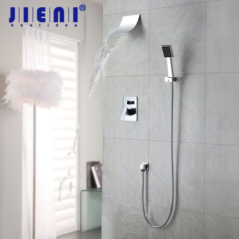 JIENI Mordern Waterfall Shower Faucet Set With Hand Spray Chrome ...