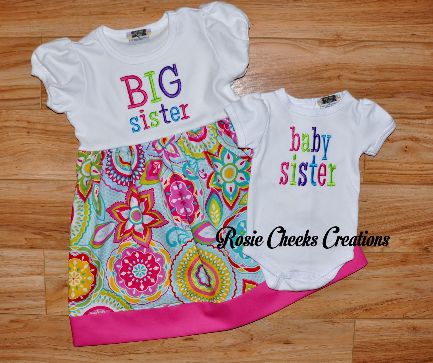 Big Sister Little Sister Baby Sister Big by RosieCheeksCreations, $56.00