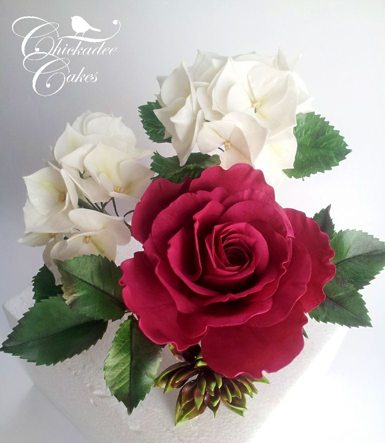 gumpaste hydrangea and rose