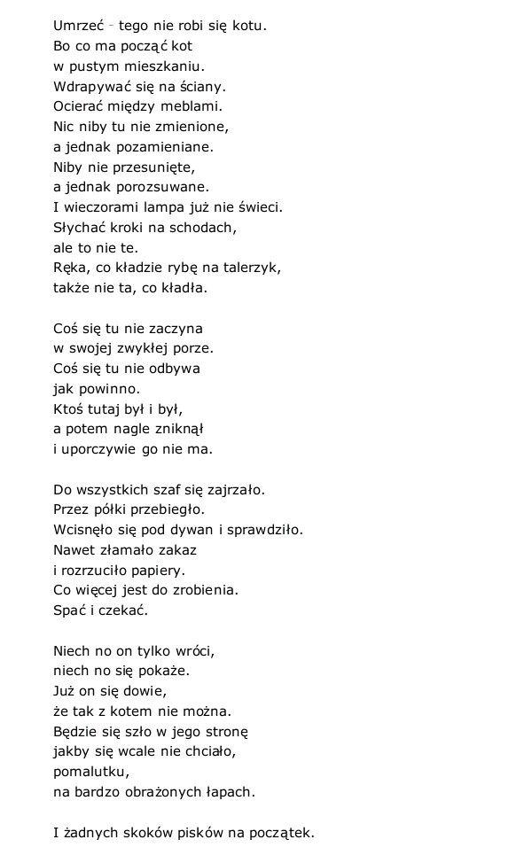Kot W Pustym Mieszkaniu Wisława Szymborska Cytaty