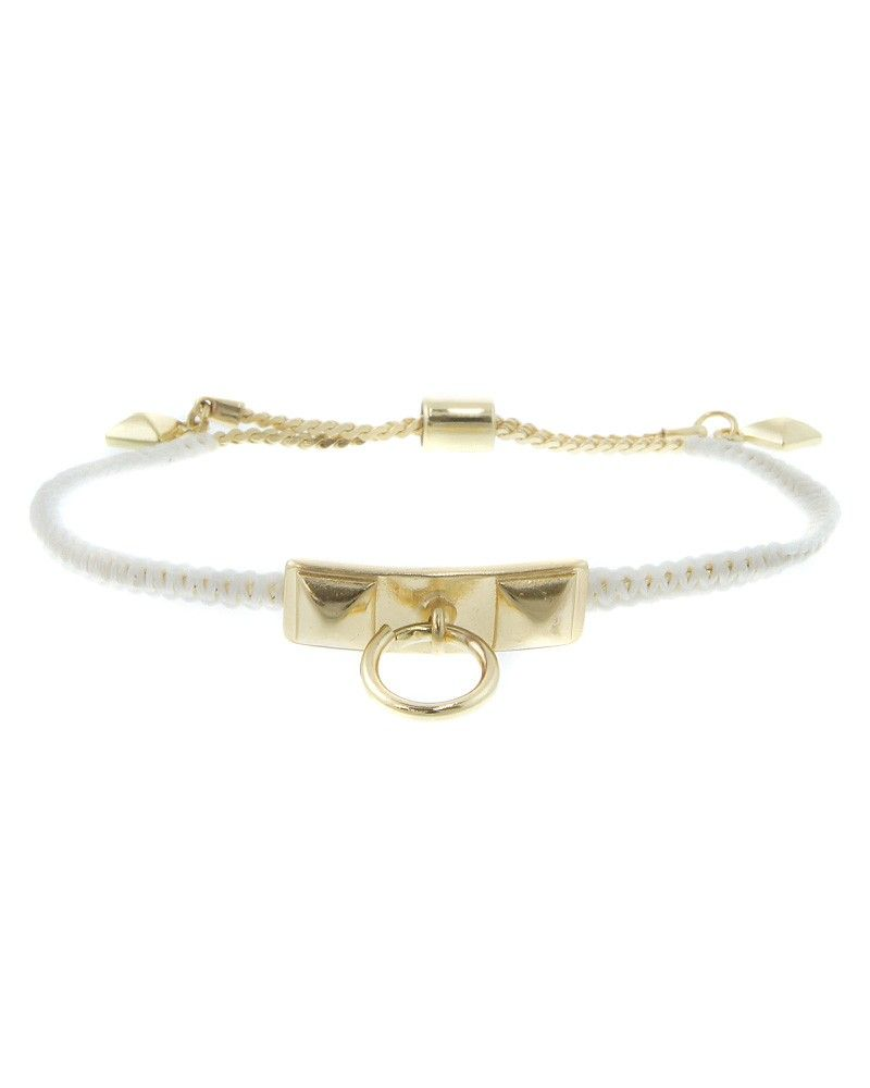 LEB1329  Pyramid stud and ring knob pull-tie bracelet. Pair with a v-neck top.    -plated base metal, nylon  - LEB1329-GOLD WHITE