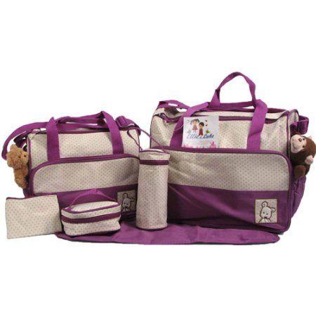 Ellie & Luke 6-Piece Diaper Bag Set (Chose Your Color), Purple