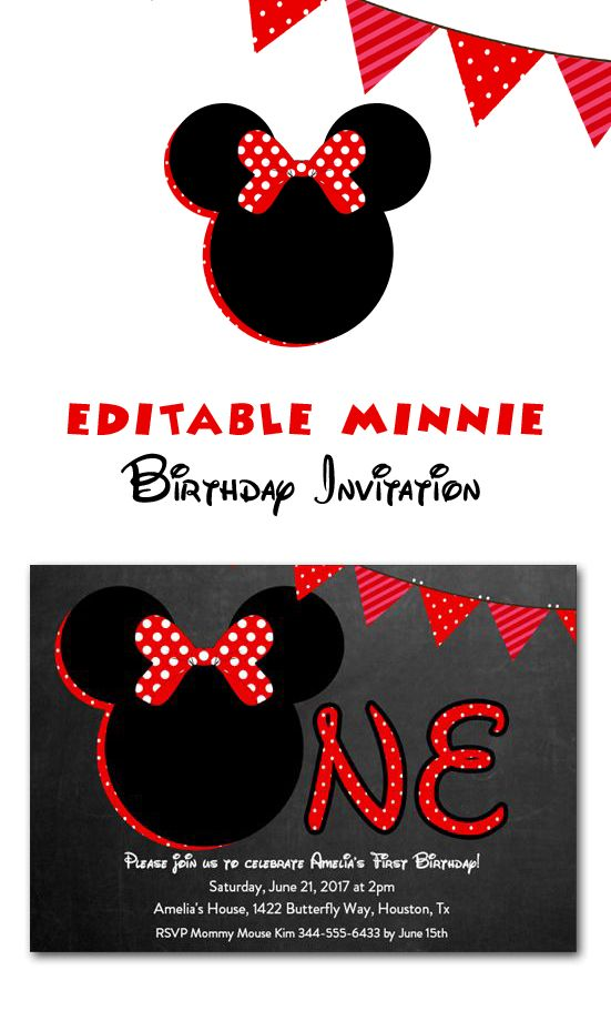 Minnie Mouse First Birthday Party Invitation One Red Chalkboard