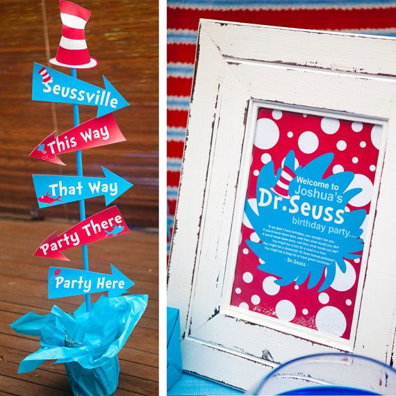 Dr Seuss Birthday Party Theme Signage
