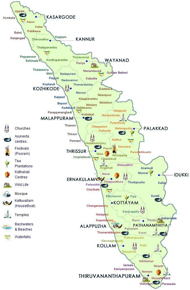 Kerala Map India | India /Kerala | Kerala travel, Kerala ...