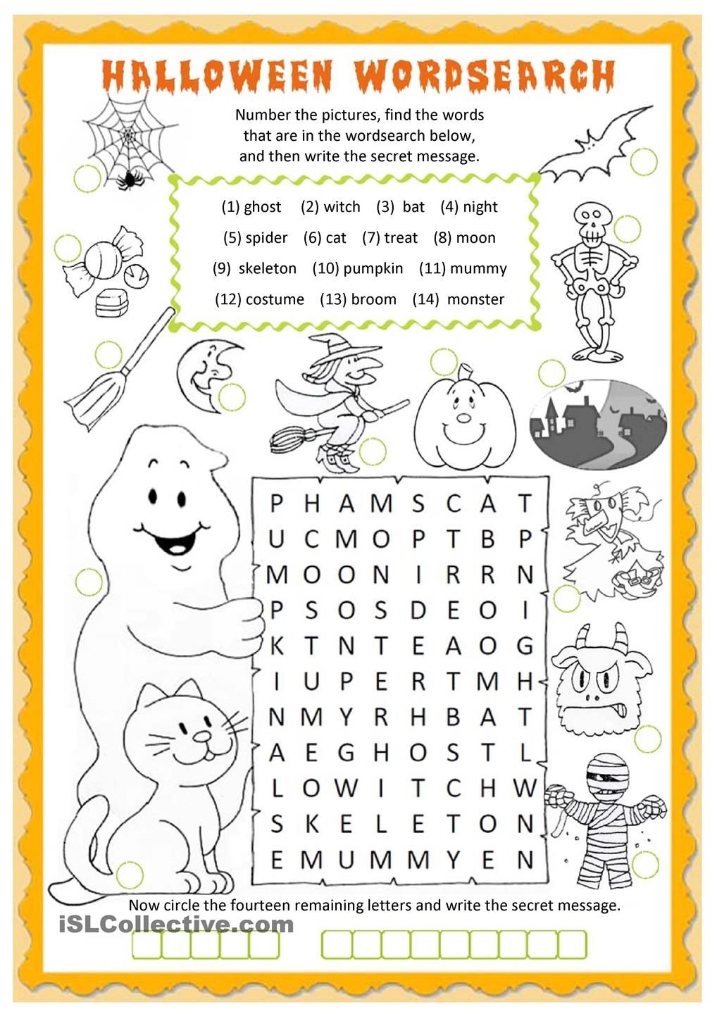 Halloween wordsearch worksheet Free ESL printable