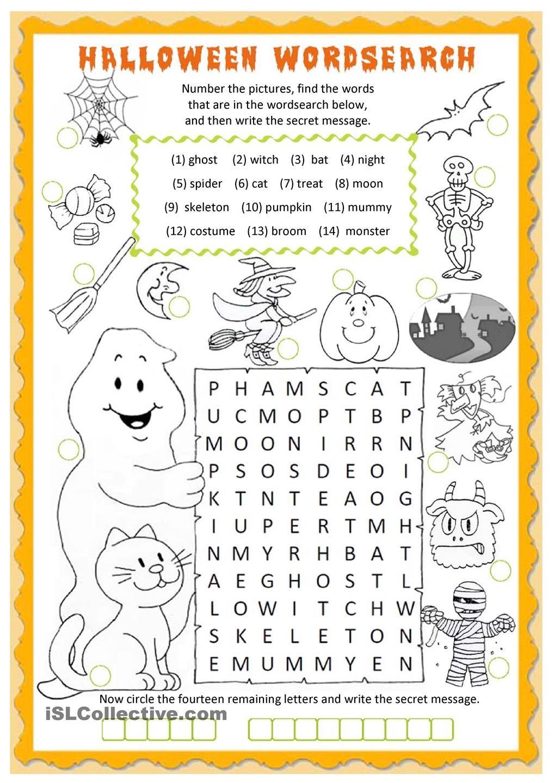 halloween wordsearch worksheet - free esl printable worksheets made