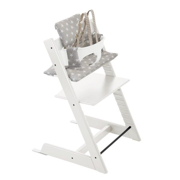 Stokke Tripp Trapp White With White Babyset And Grey Star Cushion Classic Chair Stokke Tripp Trapp Tripp Trapp Chair