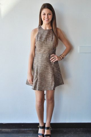 Adelyn Rae Brown Tweed Fit And Flare Dress Posh Boutique